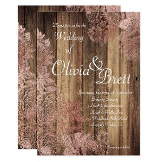 Rustic Wood Rose Lace Wedding Invitation