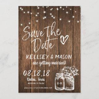 Rustic Wood Save the Date with Mason Jars & Lights Invitations