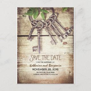 Rustic Wood Save the Date with Skeleton Keys Announcement Postcard