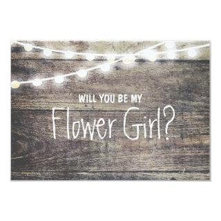 Rustic wood string light Will you be my FlowerGirl Invitation