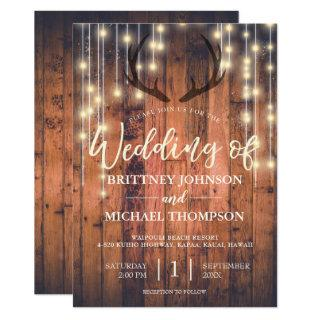 Rustic Wood String Lights Antler Wedding Invitations