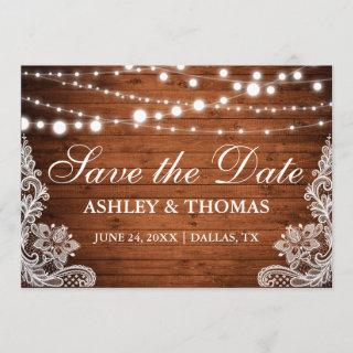 Rustic Wood String Lights Lace Save the Date