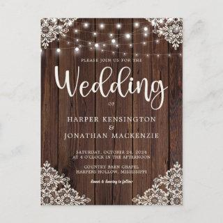Rustic Wood String Lights Lace Wedding Invitation Postcard