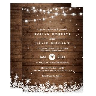 Rustic Wood String Lights Snowflake Winter Wedding Invitations