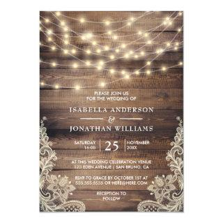 Rustic Wood & String Lights | Vintage Lace Wedding Invitations