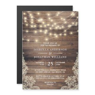 Rustic Wood & String Lights   Vintage Lace Wedding Magnetic Invitations