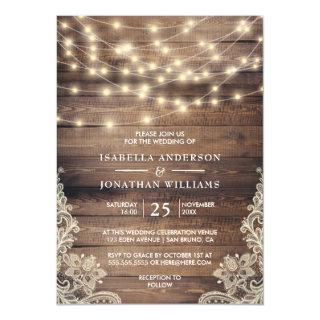Rustic Wood & String Lights | Vintage Lace Wedding Magnetic Invitations