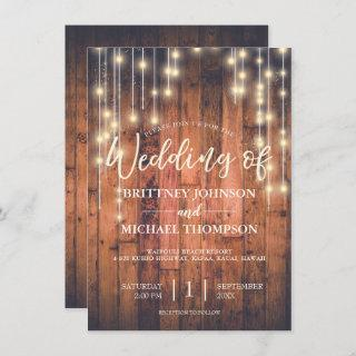 Rustic Wood String Lights | Wedding Invitations