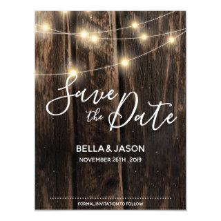 Rustic Wood String Lights Wedding Save The Date Magnetic Invitation
