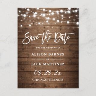 Rustic Wood String Lights Wedding Save the Date Postcard