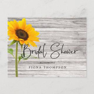 Rustic Wood Sunflower Calligraphy Bridal Shower Invitations Postcard