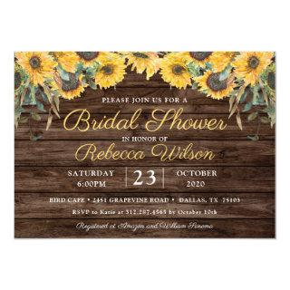 Rustic Wood Sunflower Country Barn Bridal Shower Invitations