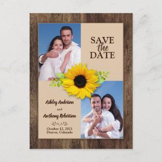 Rustic Wood Sunflower Photo Save the Date Magnet Postcard