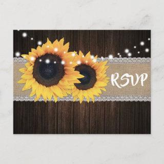 Rustic Wood Sunflower RSVP Postcard Meal Choice