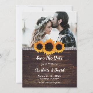 Rustic Wood & Sunflower Save The Date Photo Cards
