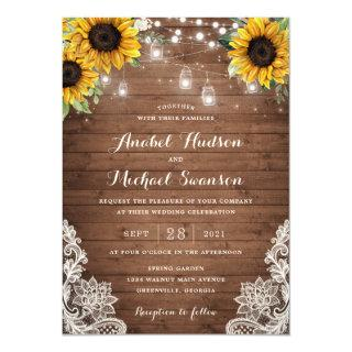 Rustic Wood Sunflower String Lights Lace Mason Jar Invitations