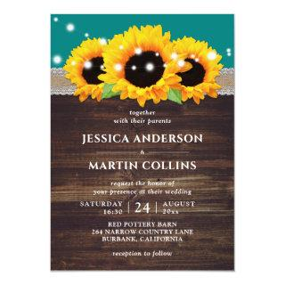 Rustic Wood Sunflower Teal Wedding Invitations