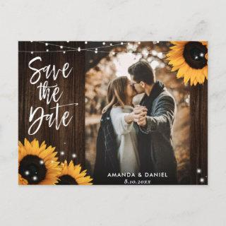 Rustic Wood Sunflower Wedding Photo Save The Date Announcement Postcard