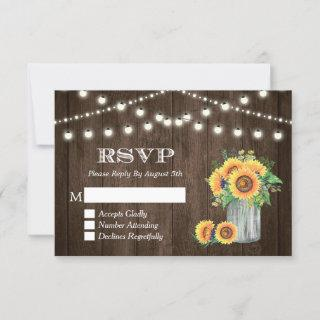 Rustic Wood Sunflowers String Lights Wedding RSVP