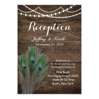 Rustic Wood Teal Feather Peacock Wedding Card