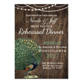 Rustic Wood Teal Feather Peacock Wedding Invitations