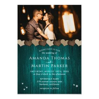 Rustic Wood Teal Photo Wedding Invitations