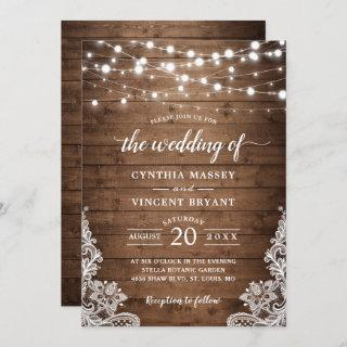 Rustic Wood Twinkle String Lights Lace Wedding Invitations