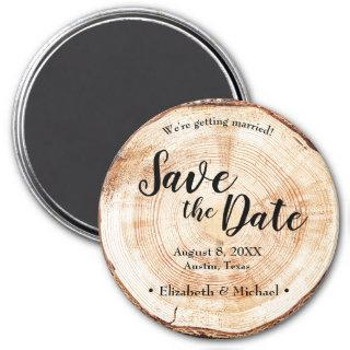 Rustic Wood Unique Wedding Save the date Magnet