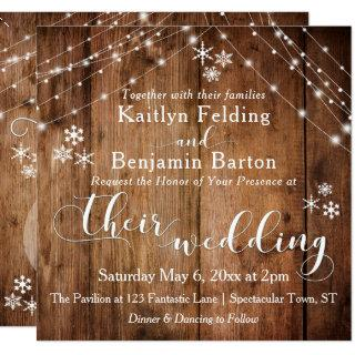 Rustic Wood w/ White Lights & Snowflakes Wedding Invitation
