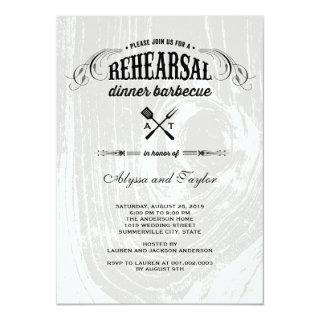 Rustic Wood Wedding Rehearsal Dinner BBQ Party Invitations