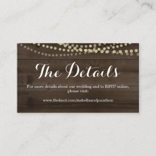 Rustic Wood Wedding Website Enclosure Card