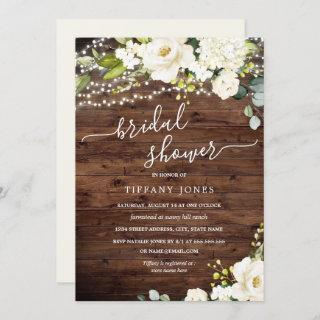 Rustic Wood White Floral Lights Bridal Shower Invitations