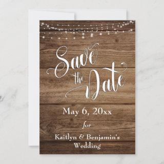 Rustic Wood, White Lights & Elaborate Script Save The Date