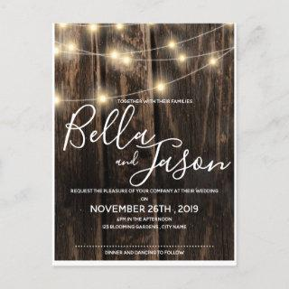 Rustic Wood With String Lights Wedding Invitations