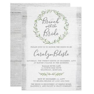 Rustic Wood Wreath Bridal Shower Brunch Invitations