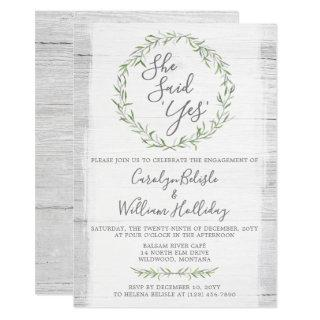 Rustic Wood & Wreath Engagement Party Invitation