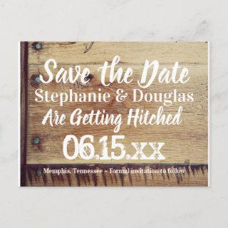 Rustic Wood You and Me Save the Date Postcards
