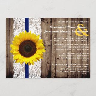 Rustic Wooden and Lace with Sunflower Wedding Invitations
