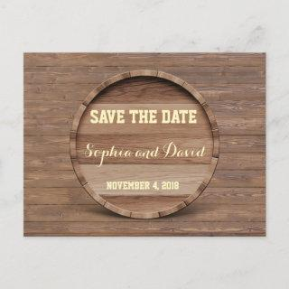 Rustic Wooden Barrel Wedding SAVE THE DATE Announcement Postcard