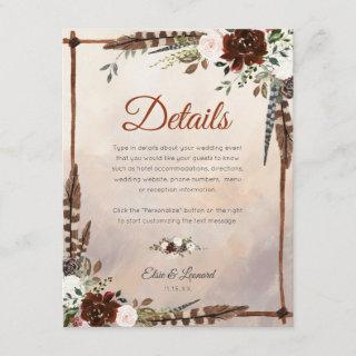 Rustic Woodland Feathers and Floral Bloom Enclosure Card