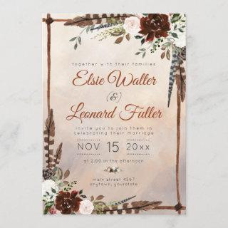 Rustic Woodland Feathers and Floral Bloom