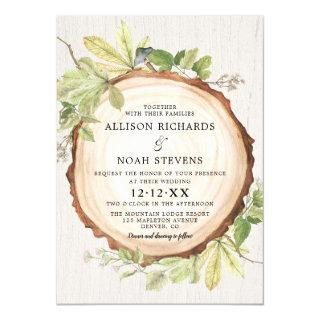 Rustic woodland outdoor forest theme wedding Invitations