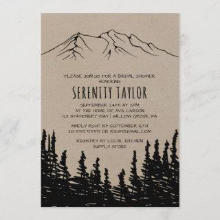 Rustic Woodsy Mountain Bridal Shower Invitations