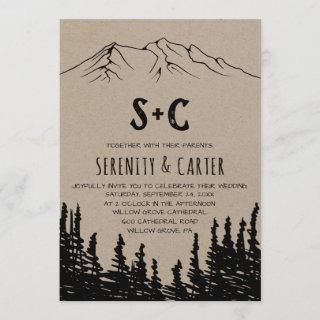 Rustic Woodsy Mountain Monogram Wedding Invitation
