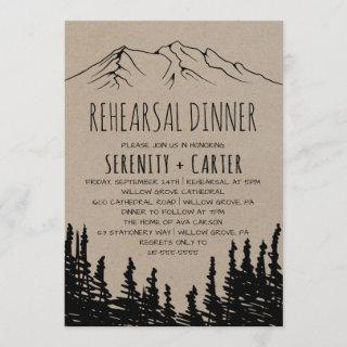 Rustic Woodsy Mountain Rehearsal Dinner Invitations
