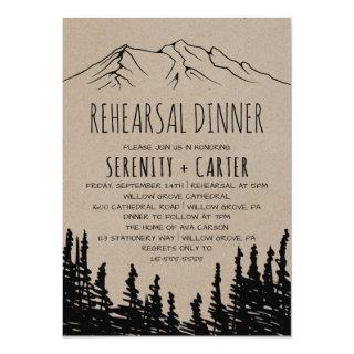 Rustic Woodsy Mountain Rehearsal Dinner Invitation