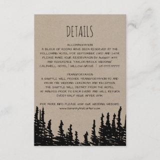 Rustic Woodsy Mountain Wedding Details Card