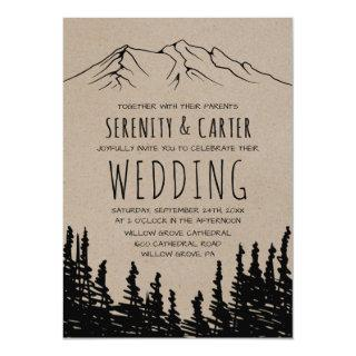 Rustic Woodsy Mountain Wedding Invitations