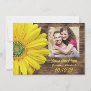 Rustic Yellow Daisy Wood Photo Wedding Save Date Announcement