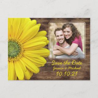 Rustic Yellow Daisy Wood Photo Wedding Save Date Announcement Postcard